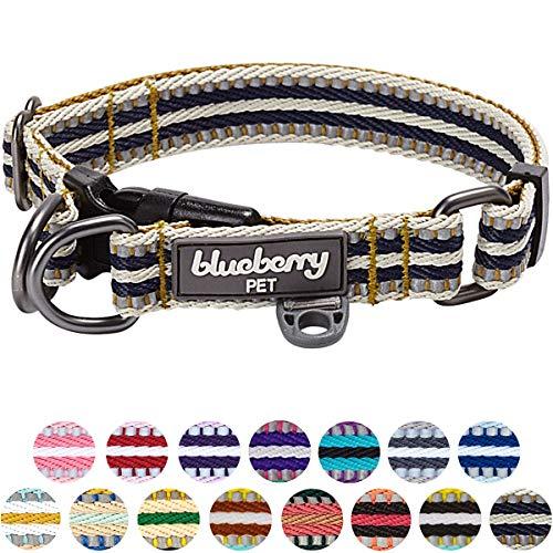 Blueberry Pet 2cm M 3M Reflektierendes Bunt Gestreiftes Olivgrün und Graublaue Hundehalsband für...