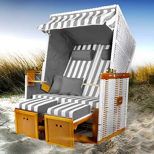 BRAST Strandkorb Nordsee XXL Volllieger Grau Weiß gestreift incl. Schutzhülle 2 Sitzer 120cm breit...