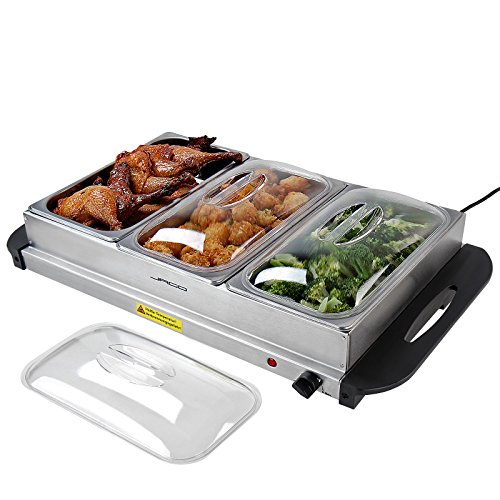 Buffetwärmer - Elektrisch, mit Heizplattenfunktion, Setwahl, Temperaturregler, Edelstahl -...