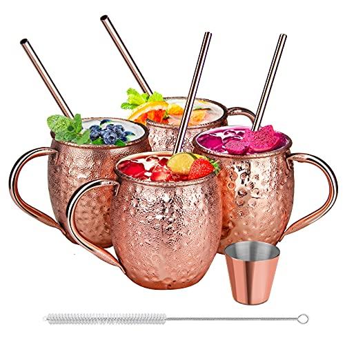 SDFZH Moscow Mule Becher Set, 4 Kupferbecher Cocktail Tasse für Kaltes Getränk, Wein, Bar, Party,...