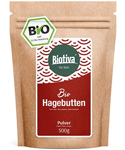 Hagebuttenpulver Bio, 500g - EU-Herkunft - Rohkostqualität - aus ganzen Hagebutten in Deutschland...
