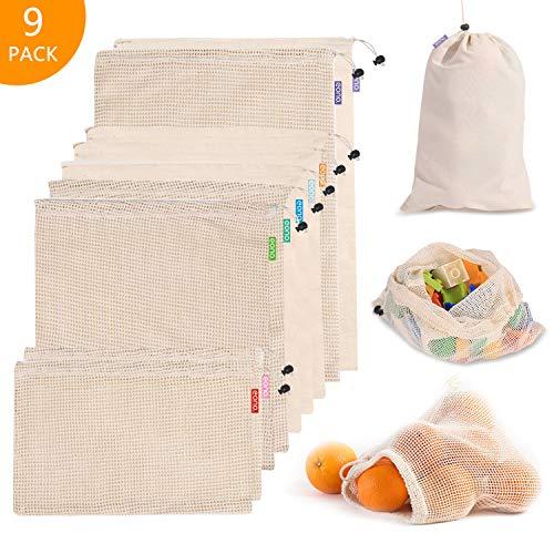 Eono by Amazon - Wiederverwendbare Baumwolle Masche Produzieren Taschen, Gemüsebeutel,...