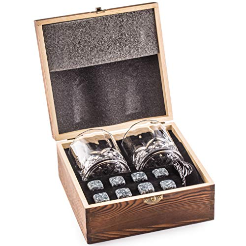 Deluxe Whisky Steine Geschenkset - Sei anders bei der Geschenkauswahl - Luxus Handgemachte Holzkiste...