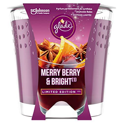 Glade (Brise) Duft-Kerze im Glas, Merry Berry & Bright (Rote Beeren, Glühwein, Zimtstangen), bis zu...