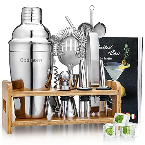 Cocktail Set, Godmorn Edelstahl Cocktail Shaker Set, 15 Teiliges Barkeeper Set mit Bessere Bambus...