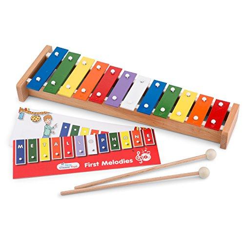 New Classic Toys - 10218 - Musikinstrument - Metallophon mit Musikbuch - 12 Töne