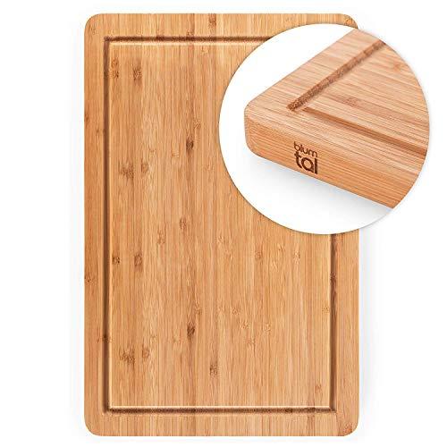 Blumtal Schneidebrett aus 100% Bambus - antiseptisches Holz-Brett mit Saftrille, Holz-Brettchen,...