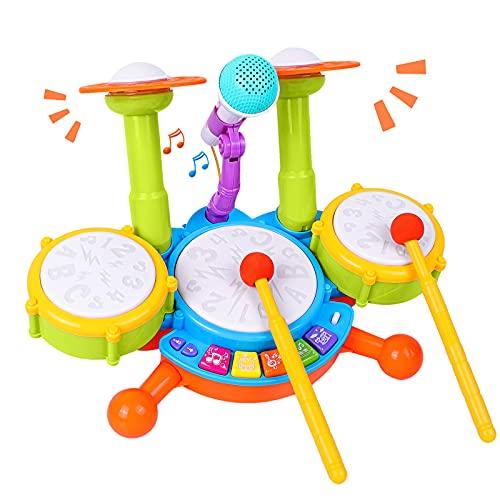 Rabing Kinder Schlagzeug Set, Drum Set für Kinder mit 2 Drumsticks 1 Mikrofon mit Licht &...