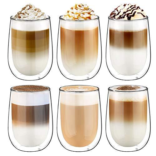 Glastal 350ml Doppelwandige Latte Macchiato Glaser Set Kaffeeglas Trinkgläser 6-teiliges