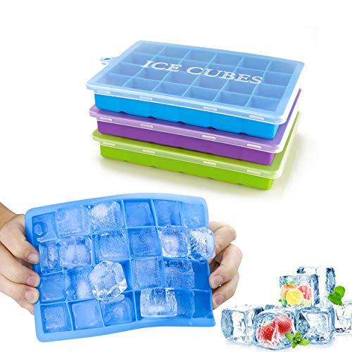 Morfone Eiswürfelform,3 Stück Silikon Eiswuerfel Form Eiswuerfelbehaelter Mit Deckel Ice Cube...