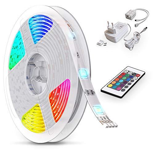 B.K.Licht LED Strip 5m, RGB Streifen, Strips, Band mit Farbwechsel, Stripes mit Fernbedienung,...