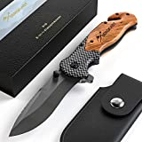 BERGKVIST 3-in-1 Taschenmesser K19 Messer extra scharf I Klappmesser mit Holzgriff I Outdoor Messer...