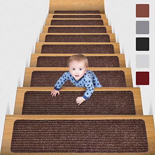MBIGM 15er Set Stufenmatten 20 cm X 76 cm Treppenteppich Selbstklebend Sicherheit Stufenteppich für...