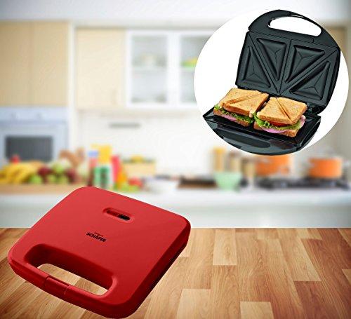 FRX Praktischer Sandwich Maker 750W Toaster Sandwichtoaster Panini Maker Doppel Kontakt Toaster...
