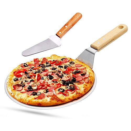 Pizzaschieber Pizzaschaufel Edelstahl + Pizzaheber mit Holzgriff zum Backen Hausgemachte Pizza und...