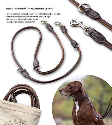 Jack & Russell Premium Leder Hundeleine Dora 2,0m - Hunde Leder Leine mit Karabiner - verstellbar...