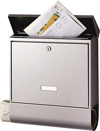 BURG-WÄCHTER Briefkasten mit Zeitungsfach und Namensschild, Edelstahl, Einwurf-Format DIN C4, Inkl....