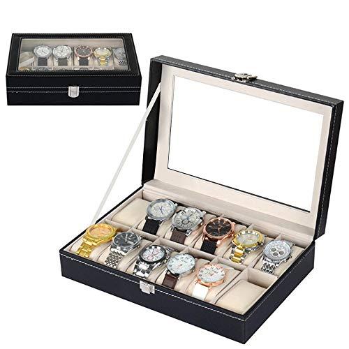 Uhrenbox 12 Uhren Uhrenkoffer Schaukasten Uhrenkasten Uhrenvitrine für 12 Uhren aus kunstleather...