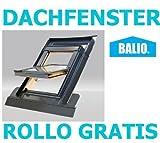 Dachfenster Balio Schwingfenster mit Eindeckrahmen und Rollo ( Verdunkelungsrollo ) 66x112 cm (VKR...