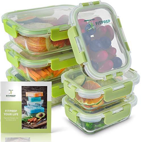 FITPREP® Glas Frischhaltedosen 12 teiliges Set (6 Vorratsdosen + 6 Deckel) -Premium Glasdose mit...