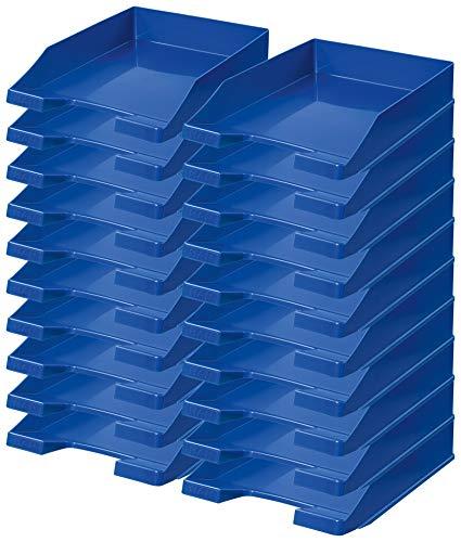 HAN 1027 Briefablage KLASSIK, DIN A4/C4, stapelbar, stabil, modern (blau / 20er Pack)