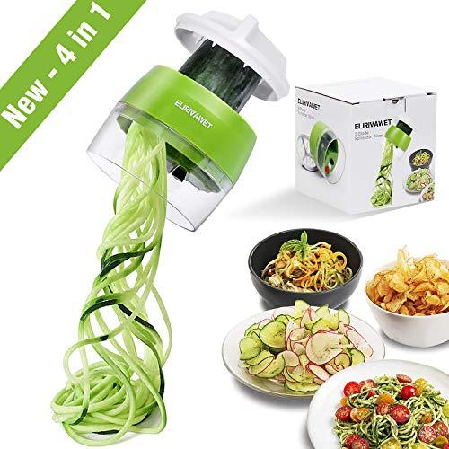 ELIRIVAWET Spiralschneider Hand für Gemüsespaghetti, 4 in1 Gemüse Spiralschneider, Gemüsehobel...