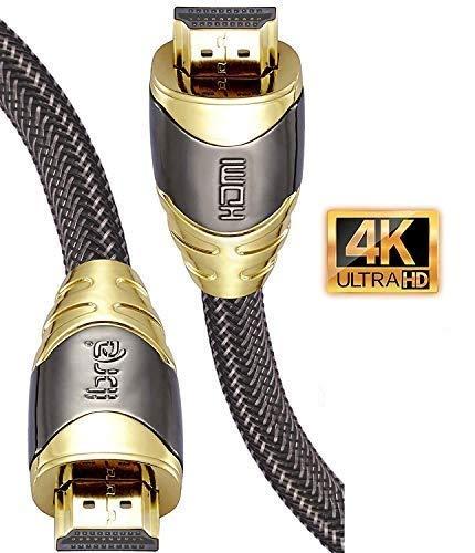 4K HDMI Kabel 2M HDMI 2.0b Kabel 4K@60Hz HighSpeed 18Gbps Nylon Geflecht Vergoldete Anschlüsse mit...
