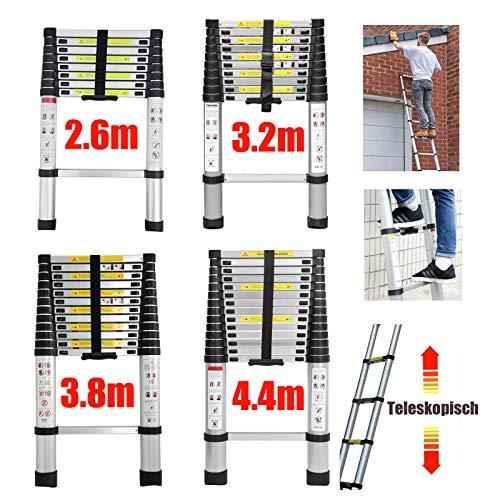 4,4m Teleskopleiter Mehrzweckleiter für Dachboden/Kletterdach/Büronutzung/Baujob Ausziehbar...