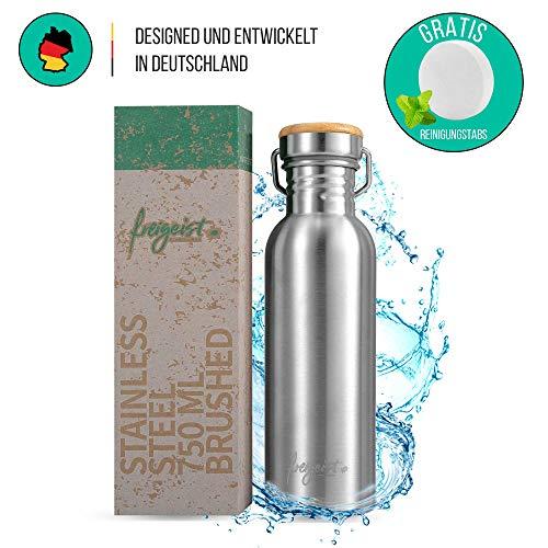 freigeist Trinkflasche Edelstahl 750 ml einwandig | Sportflasche BPA-frei dicht | Auslaufsichere...