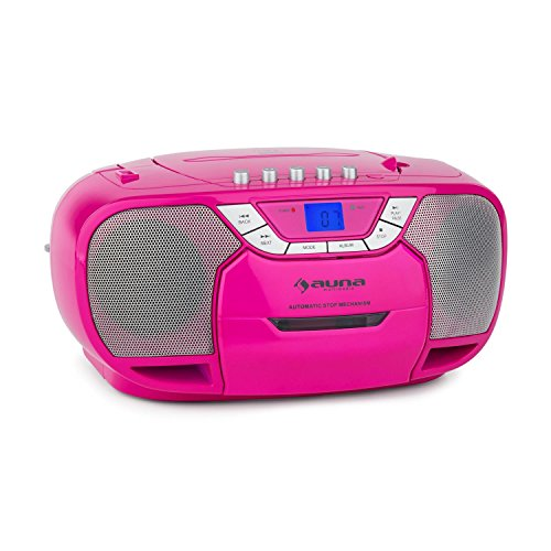 auna BeeGirl - CD-Radio, Boombox, Kassettenplayer, programmierbarer MP3- / CD-Player, Kassettendeck,...