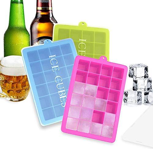 BSET BUY Eiswürfelform Silikon Eiswürfel Form Eiswürfelbehälter Eiswürfelbereiter mit Deckel...