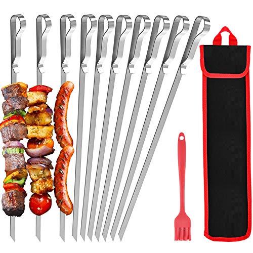 Grillspieße 10 Stück mit Nylontasche, 43 cm flacher Edelstahl-Grillspieß Vermeiden Sie...