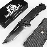 BearCraft Klappmesser schwarz mit **GRATIS eBook** | Scharfes Outdoor Survival Taschenmesser mit...