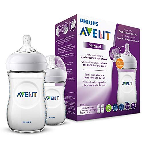 Philips Avent Natural Flasche SCF033/27, 260 ml, naturnahes Trinkverhalten, Anti-Kolik-System,...