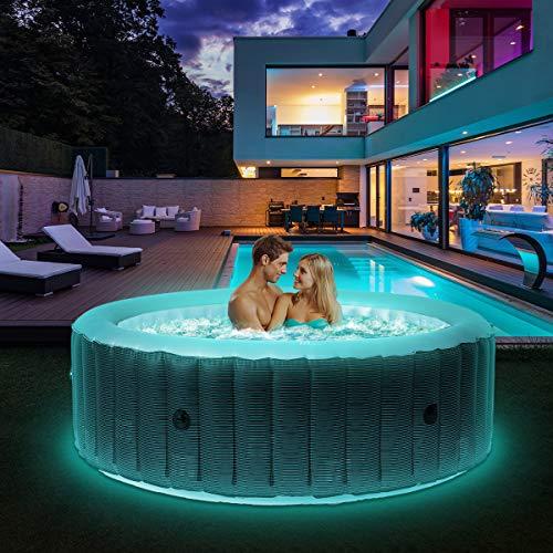 Miweba MSpa aufblasbarer Whirlpool 2021 Starry C-ST061 Outdoor - inkl. LED Band - 138 Düsen - 204 x...