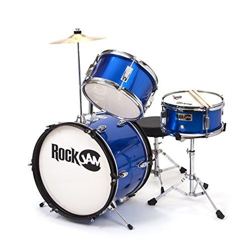 RockJam 3-teiliges Junior Drum Set mit Crash Cymbal, Drumsticks, Verstellbarer Thron und Zubehör -...