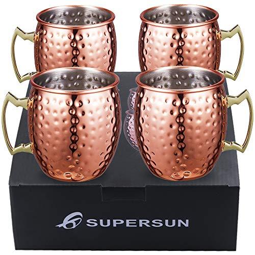 SUPERSUN Set 4er Moscow Mule Becher für Spicy Ginger Beer, Kupferbecher Moscow Mule Cocktailgläser...