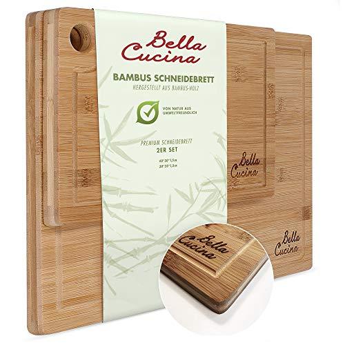 Bella Cucina© Bambus Schneidebrett 2er Set mit Saftrille | Massive Küchenbretter aus Holz als...