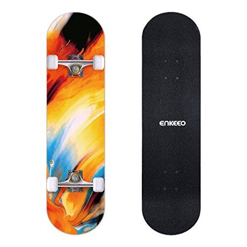 ENKEEO Skateboard Komplettboard 32 x 8 Zoll mit ABEC-9 Kugellager, Drop-Through Longboard Ahornholz...