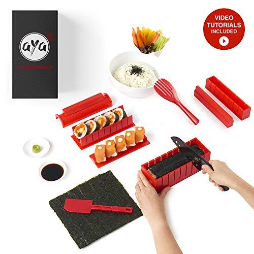 AYA Sushi Maker Kit Sushi Maker Rot Komplett mit Sushi Messer und Exklusiv Video Tutorials 11 Stück...