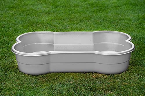 DogsLand Hundepool in Knochenform - 120 cm, grau, für große und kleine Hunde, Biss- und...
