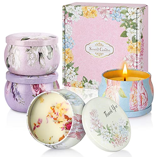 Aukiita Duftkerzen Geschenkset, 4pcs 4.4 oz Aroma Kerzen für Frauen Mama, Natürliches Sojawachs...