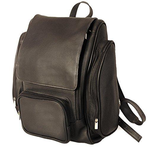 Großer Lederrucksack/Laptop Rucksack bis 15,6 Zoll, für Damen und Herren, Schwarz, Jahn-Tasche 709