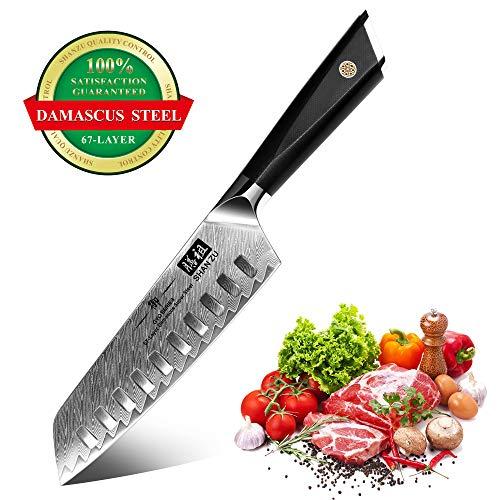 SHAN ZU Kochmesser, Santokumesser Küchenmesser 18cm Profi Messer Damaskus Carbon AUS-10 Edelstahl...