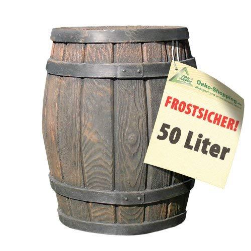 REGENTONNE REGENFASS WASSERFASS REGENWASSERBEHÄLTER REGENWASSERFASS GARTENFASS Eichenfass 50l Liter...