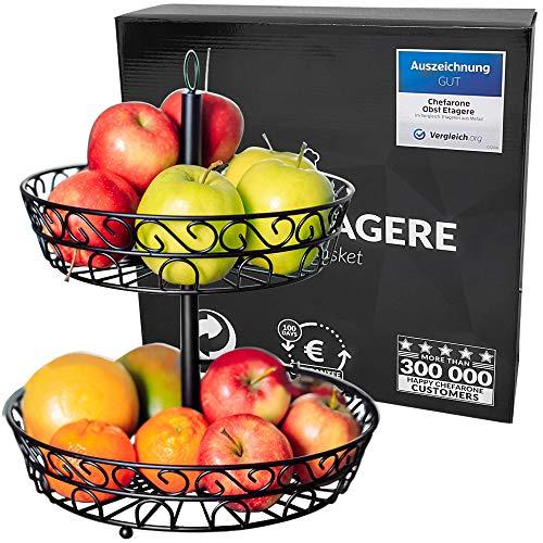 Chefarone Obst Etagere 30 cm - Obstschale Metall für mehr Platz auf der Arbeitsplatte - Etageren...
