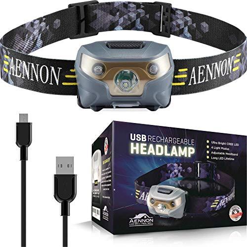 USB Wiederaufladbare LED Stirnlampe Kopflampe, Sehr hell, wasserdicht, leicht und bequem, Perfekt...