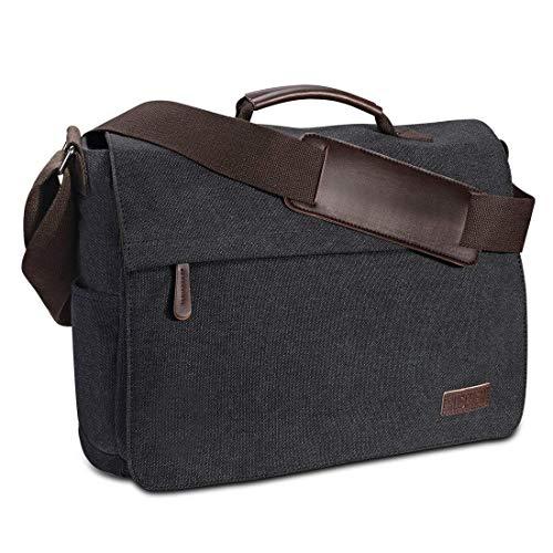 Umhängetasche Herren aus Vintagem Segeltuch, Premium Herrentasche, Laptoptasche für 15,6 Zoll...
