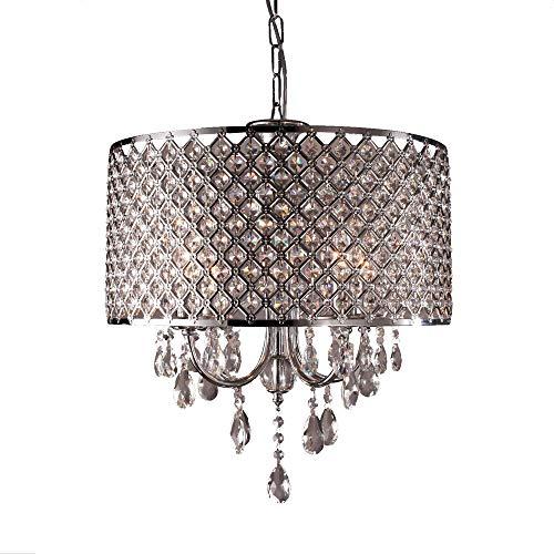 UISEBRT Kristall Lampenschirm Kronleuchter E14 - Moderne Hängelampe Deckenlampe Lüster...