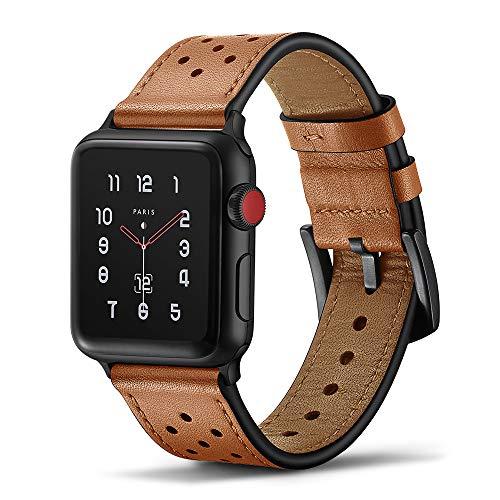 Tasikar Armband Kompatibel mit Apple Watch Armband 42mm 44mm Premium Echte Leder Design für Apple...